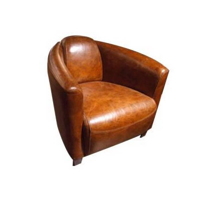 fauteuil club london cuir marron achat vente fauteuil cdiscount. Black Bedroom Furniture Sets. Home Design Ideas