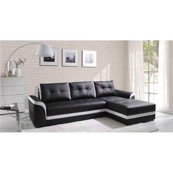 canap d 39 angle convertible dumno noir et blanc angle droit achat vente canap sofa divan. Black Bedroom Furniture Sets. Home Design Ideas