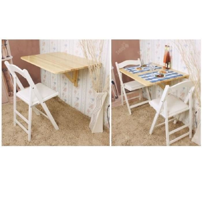 Table murale pliable rabattable pliante en bois 75x60 cm - Table de cuisine pliable ...