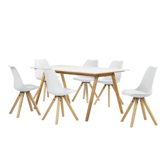table manger bambou blanc avec 6 chaises blanc. Black Bedroom Furniture Sets. Home Design Ideas