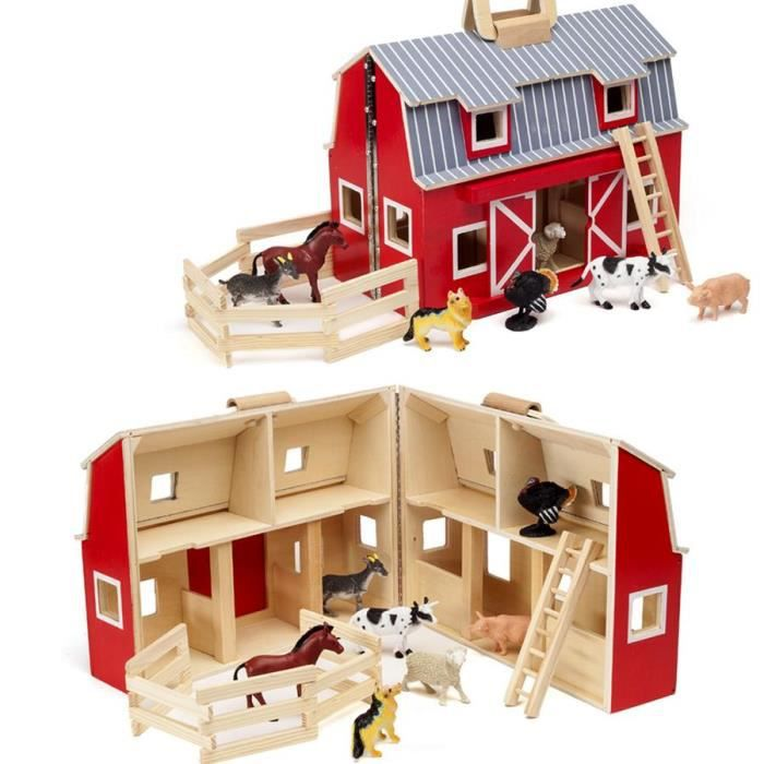 maison ferme en bois a transporter avec 7 animaux inclus enfant 3 ans achat vente maison. Black Bedroom Furniture Sets. Home Design Ideas