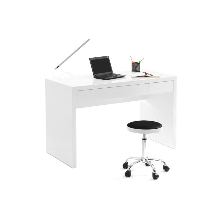 miliboo bureau design blanc laqu lacy achat vente bureau miliboo bureau design bla. Black Bedroom Furniture Sets. Home Design Ideas