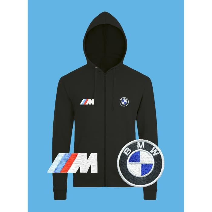 BMW M Power Sweat à Capuche Pull Zippé Logo BRODÉ Noir Manches Longues Sweatshirt Hoodies Veste Сadeau Auto Noël Fête Hommes Femmes