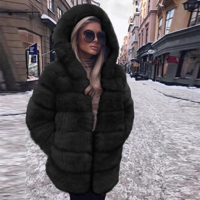 Femmes Mode Luxe Manteau en fausse fourrure à capuchon Automne Hiver chaud Pardessus Noir