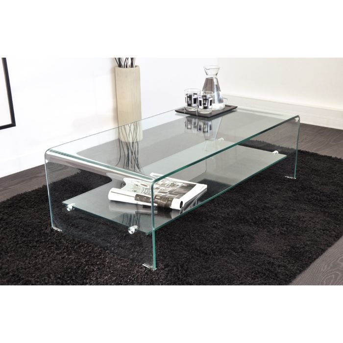 Vera table basse en verre courb 110 x 55 cm achat for Tables basses de salon en verre