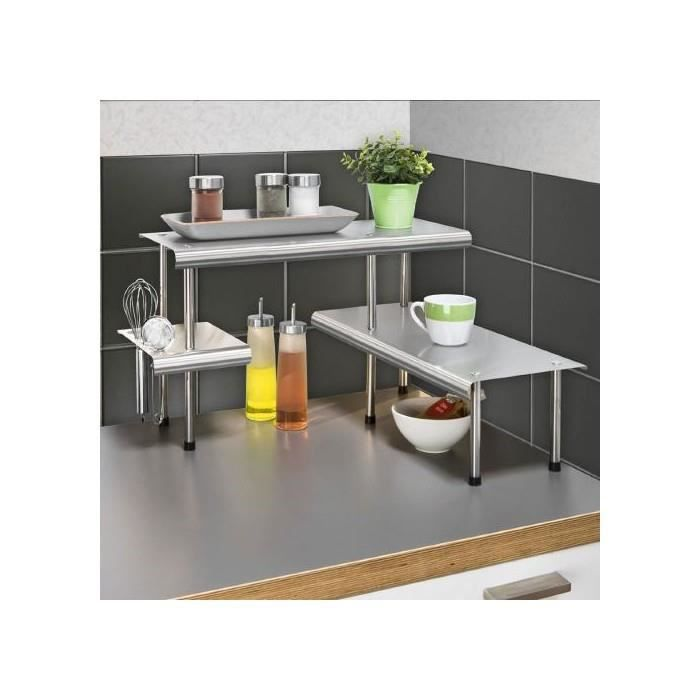 etagere d 39 angle de cuisine massivo trio a 3 rayons acier inox achat vente etag re murale. Black Bedroom Furniture Sets. Home Design Ideas