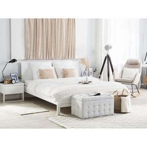 lit en bois blanc 160 x 200 achat vente pas cher. Black Bedroom Furniture Sets. Home Design Ideas