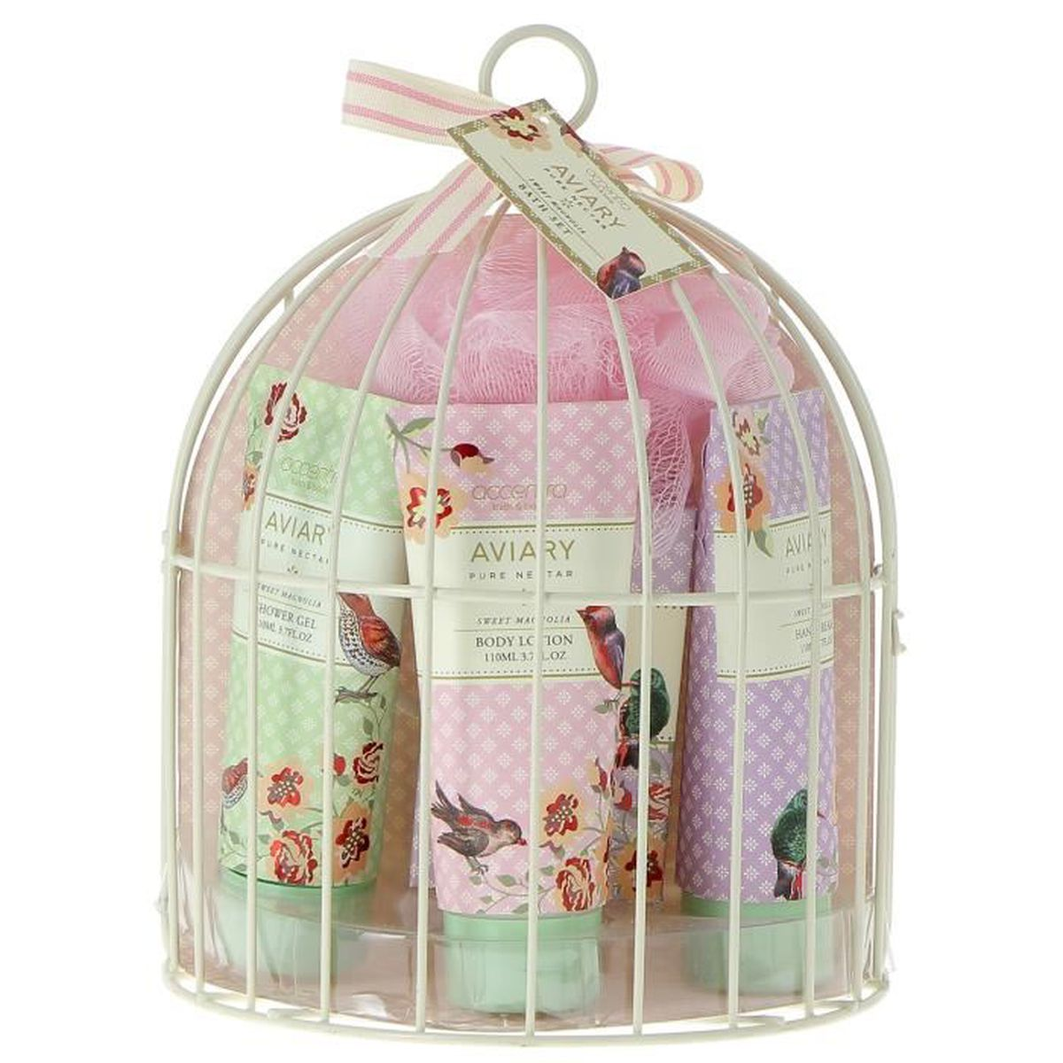 coffret aviary parfum magnolia dans demie cage en m tal oiseaux soin du corps id e cadeau. Black Bedroom Furniture Sets. Home Design Ideas