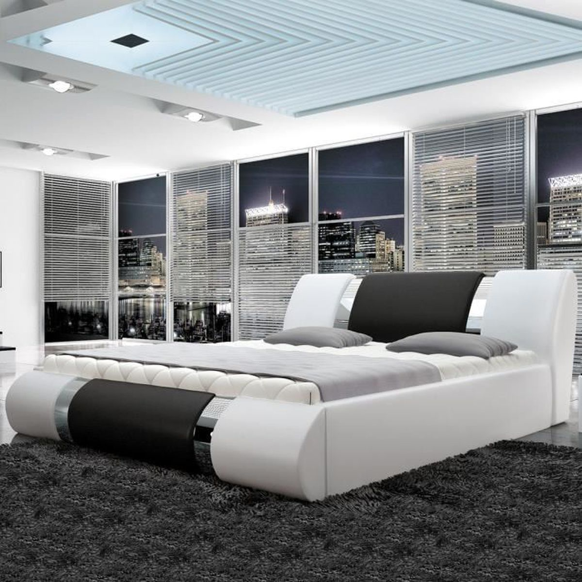 lit sommier design atlantic blanc et noir 140 cm achat. Black Bedroom Furniture Sets. Home Design Ideas