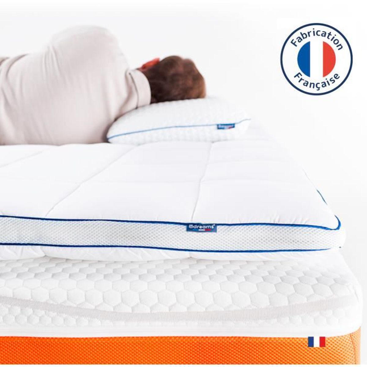 surmatelas 200x200 m moire de forme achat vente sur matelas soldes cdiscount. Black Bedroom Furniture Sets. Home Design Ideas