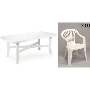 Grande table 180 cm + 10 fauteuils empilables en plastique blanc