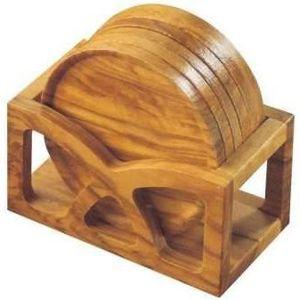 DESSOUS DE PLAT  Set 6 dessous de plat ronds, avec support, en bois