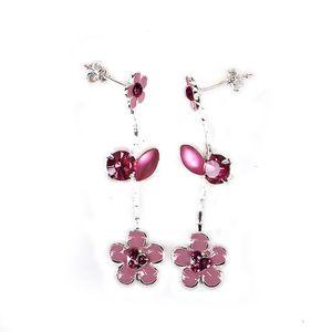 Rose Ton Or sur Argent 925 Love Knot Fleur Dangle Leverback Boucles D/'oreilles