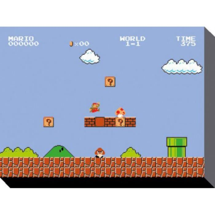 super mario poster reproduction sur toile tendue sur ch ssis bros 1 1 60 x 80 cm achat. Black Bedroom Furniture Sets. Home Design Ideas