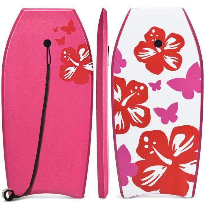 COSTWAY 41- Bodyboard Planche de Surf en XPE avec Sangle de 90 CM-pour plus de 14 Ans Charge 85KG 105x51x6CM Imprimé Fleur Rose
