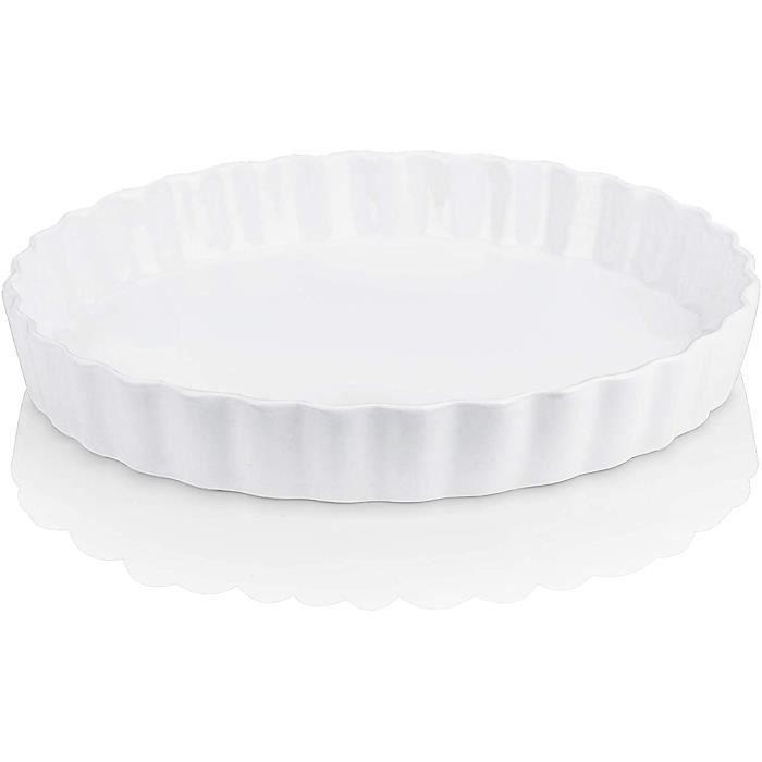 LOVECASA, Moule à Tarte, Plat à Four de Cuisson en Porcelaine, 1 pièces de 27 cm Ramequin pour Muffin, Pâtisserie,Barbecue, 1200ml
