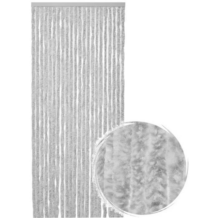 Rideau de porte Chenille de qualité supérieure, Protection de vos espaces intérieurs, Anti-Insectes 90 x 220 cm Mix blanc gris
