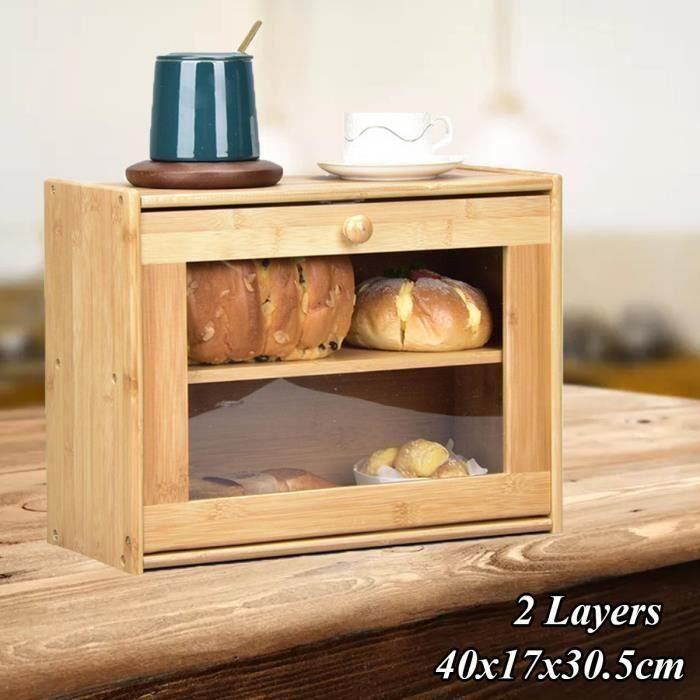 Boîte à pain carré - bambou - 40x17x30.5 cm