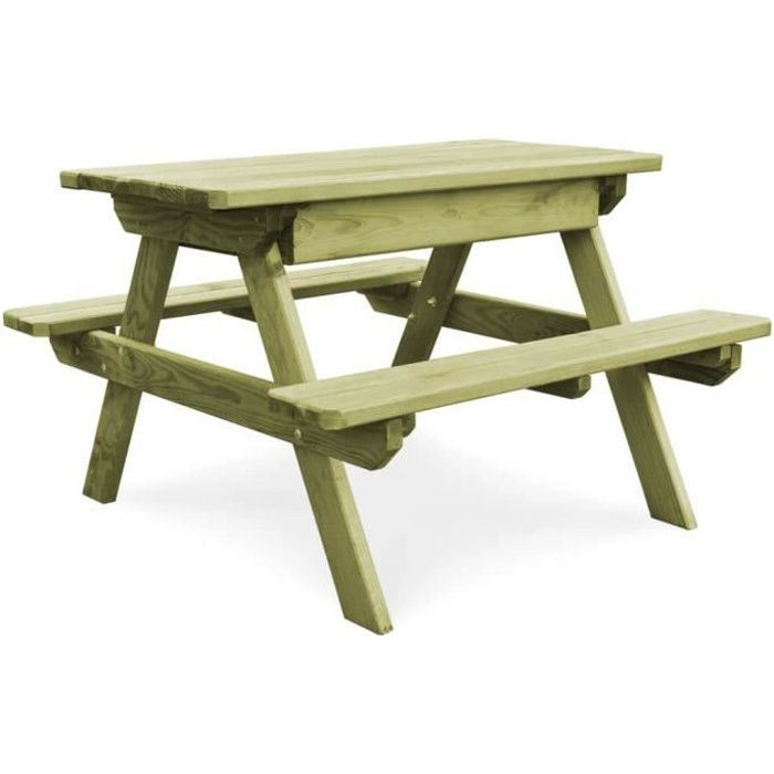 6714Magnifique Table et bancs de pique-nique,Balcon,Ensemble Table et 2 bancs pour enfants Adulte ,Salon de Jardin,4 pers 90x90x58 c