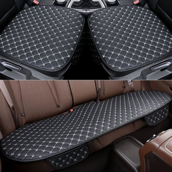 Couvre siège de voiture en cuir PU universel, couvre siège de voiture, couvre siège d'automobiliste White 1 set