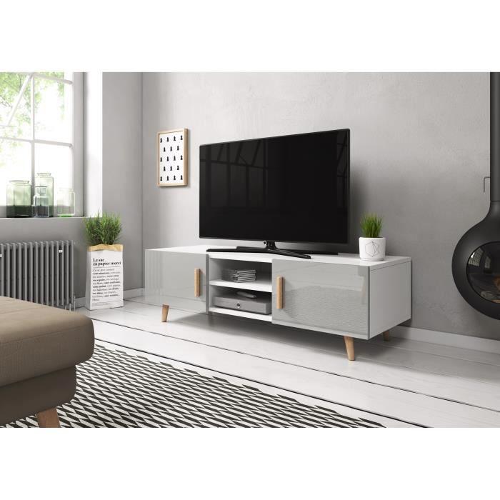 Coleus Meuble TV style scandinave blanc / gris brillant 140cm