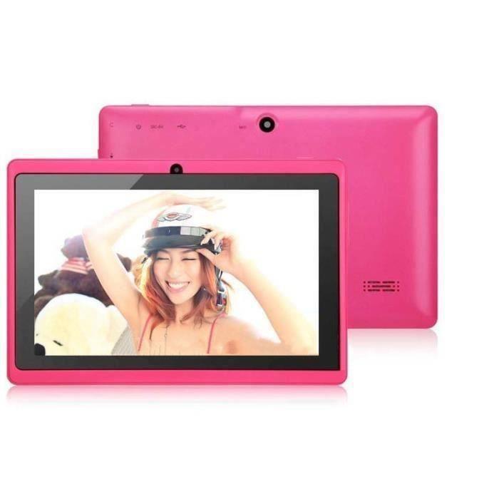 7- pouces Tablette PC A23 DDR3 Dual Core 1.5GHz 512Mo RAM 8Go ROM Dual Caméras WiFi Écran Tactile Capacitif Tablette PC Rose