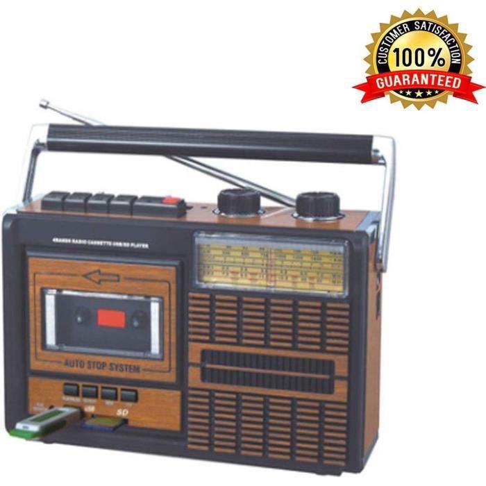 Lychee Portable Rétro Lecteur Enregistreur Cassette,Radio Quatre Bandes FM/AM/SW1/SW2,Lecteur mp3,Haut-Parleur intégré, Prise Casque