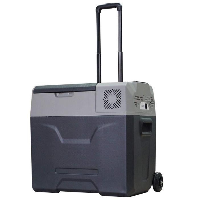 Glacière-congélateur portable à compression froid chaud 2 en 1-20°C - 20°C 50 L prise alume-cigare + adaptateur inclus gris noir