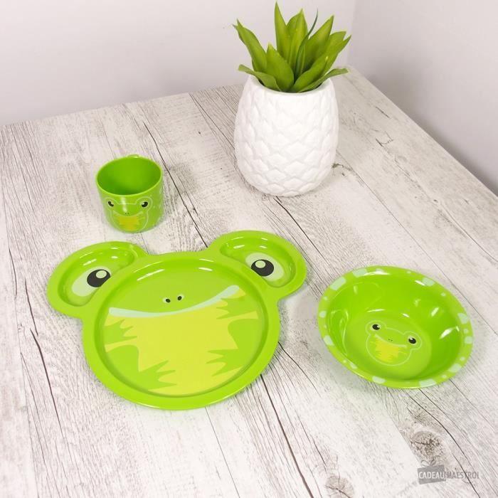 Assiette, Bol et Verre Enfant Grenouille - Cadeau Maestro Vert