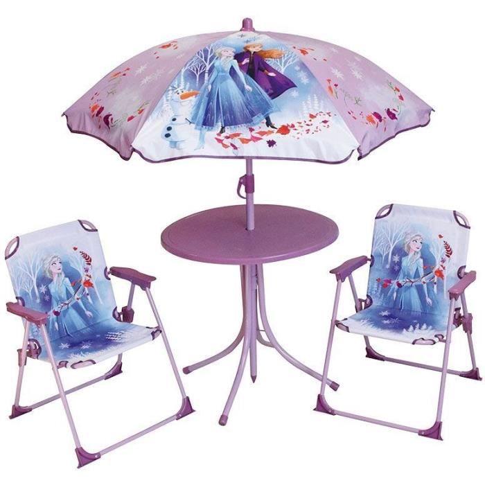 DISNEY REINE DES NEIGES Salon de jardin : 1 table ronde, 2 chaises, 1 parasol pour enfant