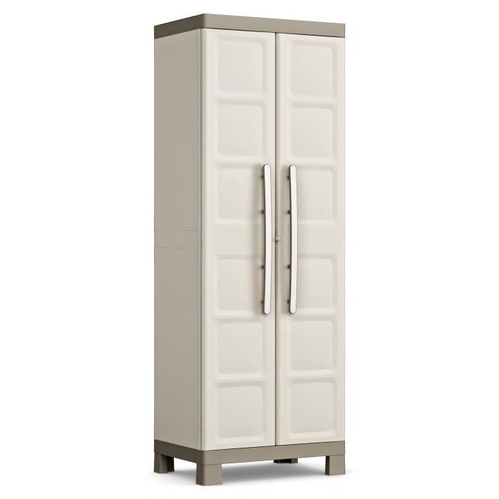 KETER Armoire Utilitaire EXCELLENCE - Beige et Taupe - 65 x 45 x 182 cm