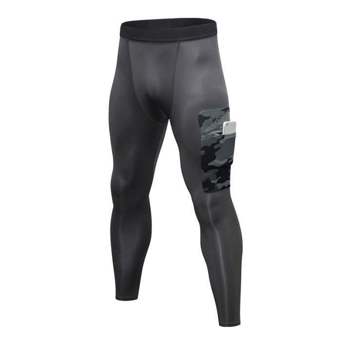 Pantalon de Compression Homme Legging Sport Fitness Avec Poche Collant Running Séchage Rapide