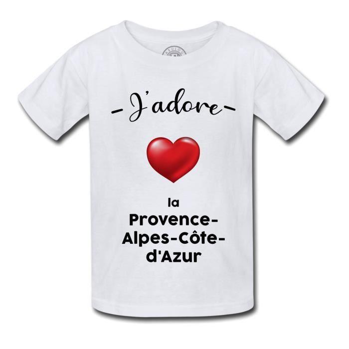 T-shirt Enfant J'adore La Provence Alpes Cote D'Azur Region de France PACA Marseille