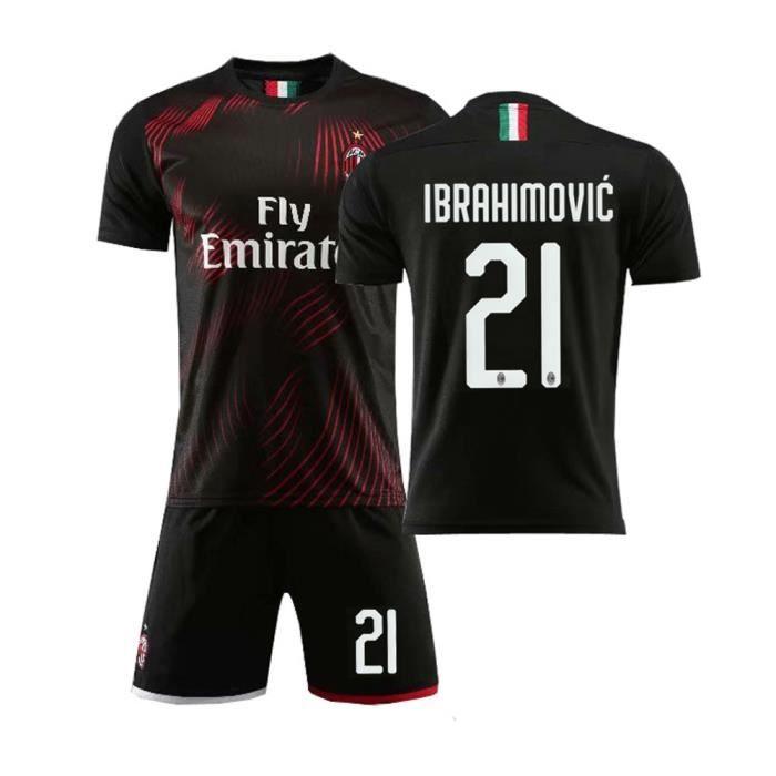 IBRAHIMOVIC NO.21 AC Milan 19-20 à domicile Jersey CA Maillot et Shorts de football Homme-Noir