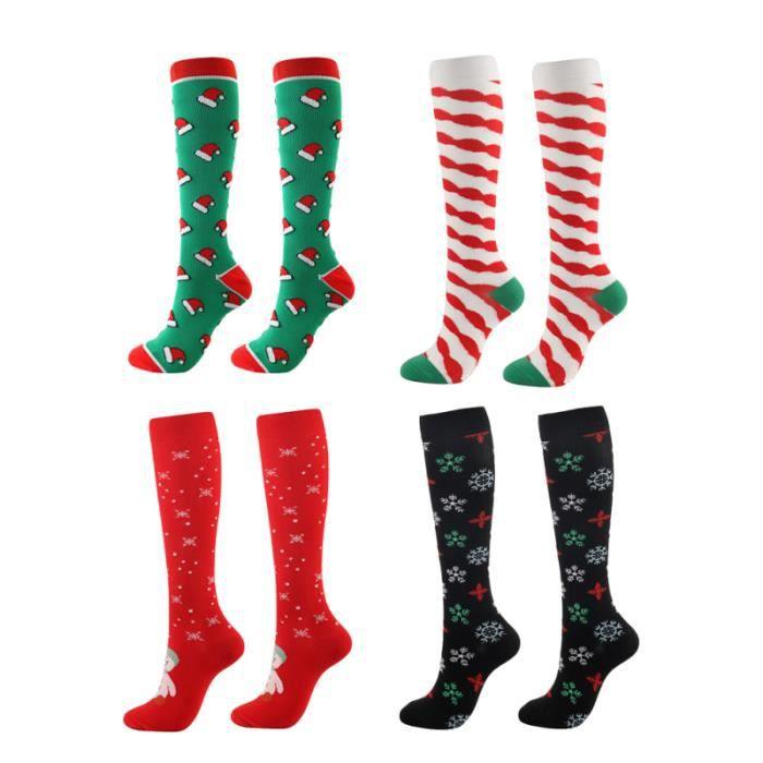 4 paires de chaussettes longues de de Noël en nylon, absorbant la sueur, pour le marathon de course SLIP-ON