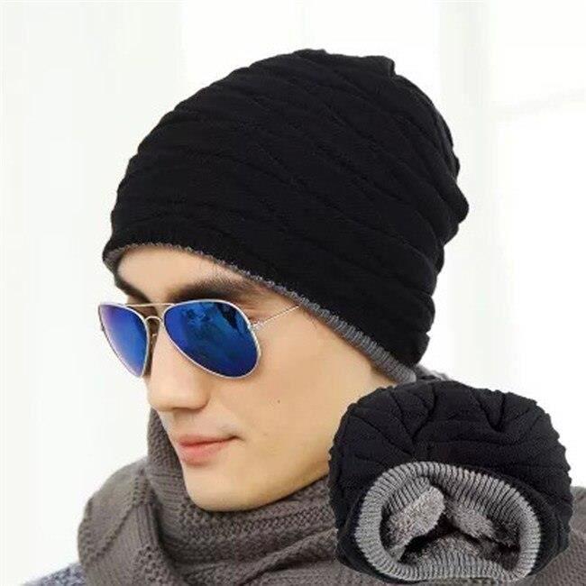 CASQUETTE,Bonnet unisexe hiver Outdooor casquette de course hommes femmes bas chapeau rayure tricoté Hiphop chapeau - Type black