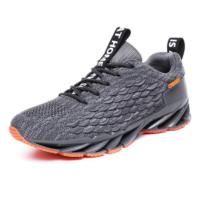 Chaussures de course pour hommes, baskets en maille respirante-gris