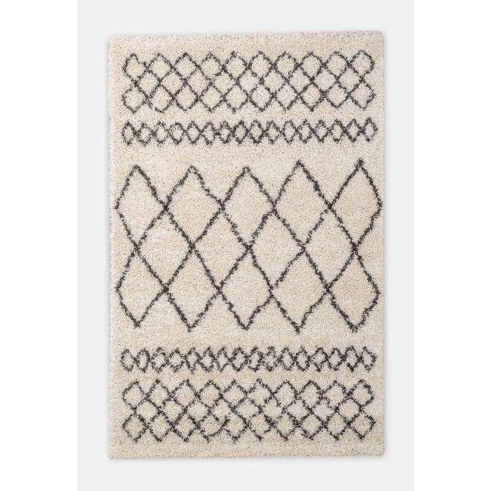 NAZAR Tapis de salon Asma - 180 x 270 cm - Crème et gris