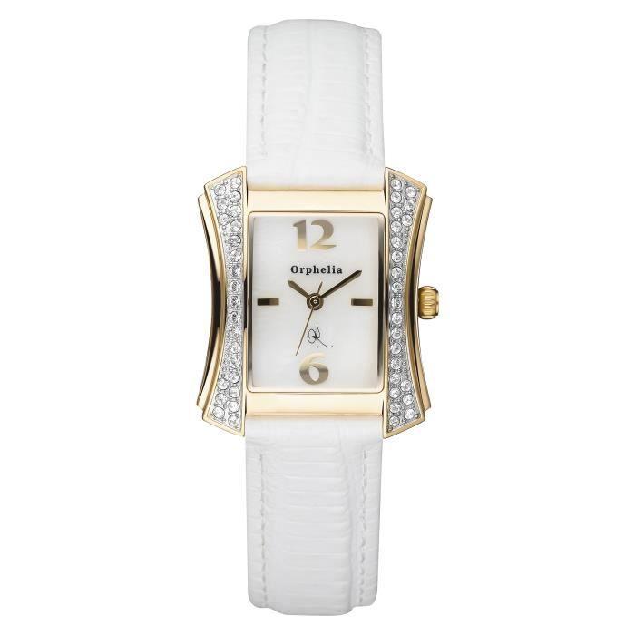 ORPHELIA - Montre Femme - Quartz Analogique - Bracelet Cuir Blanc - 122-1701-11