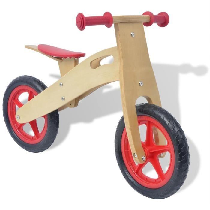 Vélo d'équilibre en bois rouge