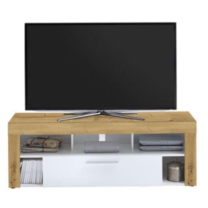 Meuble TV en MDF et panneaux de particules coloris Artisan chêne-blanc - Dim : L 150 x H 53 x P 41,5 cm
