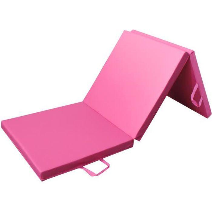 PRISP Tapis de Sol 180cm pour Fitness Exercices et Gymnastique 180 x 60 x 5 cm Matelas de Gym Épais et Pliable pour la Maison - Rose