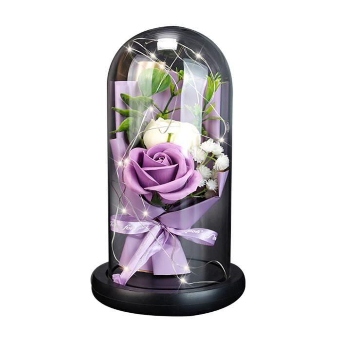 Rose Eternelle sous Cloche en Verre avec Lumières LED pour Fille Amie Femme Mère Saint Valentin Mariage Décoration Bureau - VIOLET