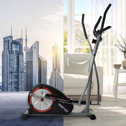VGEBY® Vélo Hybride Droit et Elliptique 8 niveaux de résistance et mouvement bidirectionnel -CYA
