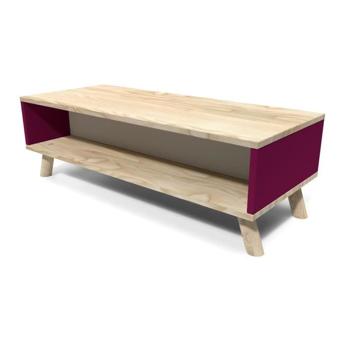 Table basse scandinave rectangulaire viking prune et gris for Meuble scandinave table basse