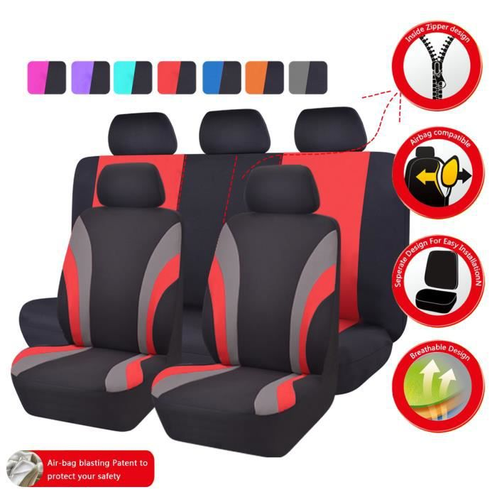 housse de siege voiture universelle rouge et noir achat vente housse de siege voiture. Black Bedroom Furniture Sets. Home Design Ideas
