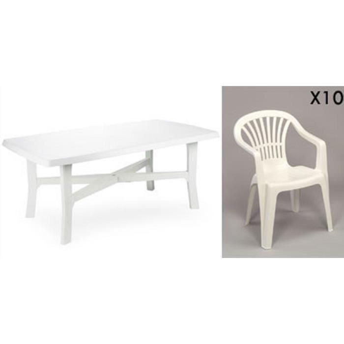 Grande table 180 cm + 10 fauteuils empilables en plastique ...