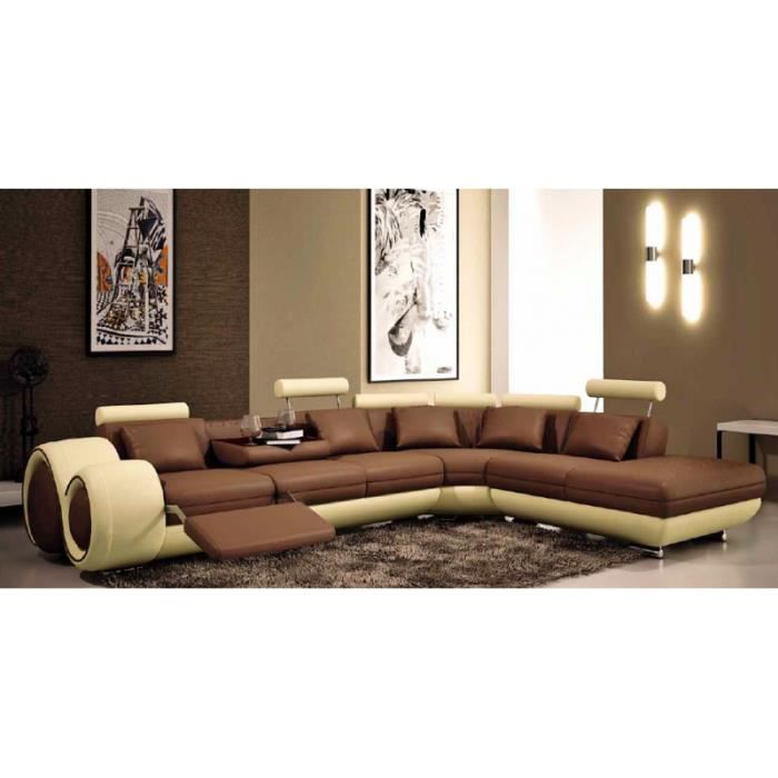 canap d 39 angle relax design marron et beige cuir achat vente canap sofa divan cuir. Black Bedroom Furniture Sets. Home Design Ideas