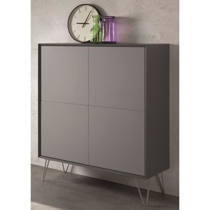 buffet haut design 4 portes alborg gris mat achat. Black Bedroom Furniture Sets. Home Design Ideas