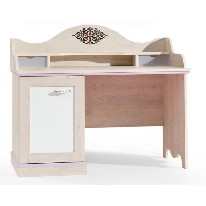 bureau baroque pour fille coloris bois naturel et blanc. Black Bedroom Furniture Sets. Home Design Ideas